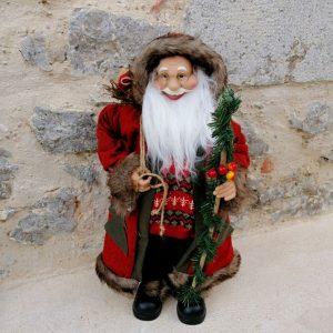 MUÑECO PAPÁ NOEL GRIS Decoración de adorno de Navidad, muñeco Papá Noel muy bonito y elegante. Medidas 60 cm aprox