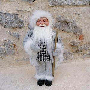 MUÑECO PAPÁ NOEL GRIS Decoración de adorno de Navidad, muñeco Papá Noel gris muy bonito y elegante. Medidas 45 cm aprox