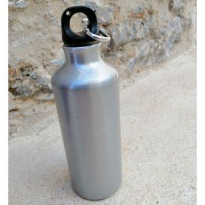botella cantimplora aluminio gris