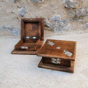 caja madera artesanal elefantes metal