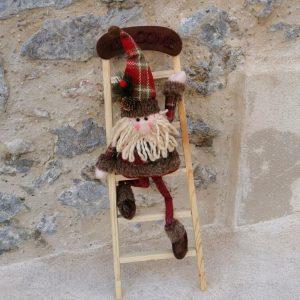 ESCALERA MUÑECO DE SANTA CLAUS NAVIDAD WELCOME Escalera de madera decorada con muñeco de papa noel para Navidad Decoración de Navidad Tamaño 65 cm