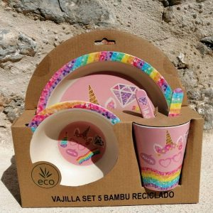 vajilla set 5 bambu unicorn