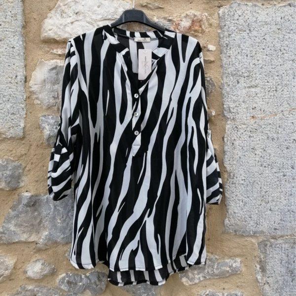 Blusa negra y blanca zebra. talla única