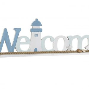 DECORACION MDF CUERDA WELCOME 51X5X14,5 BLANCO